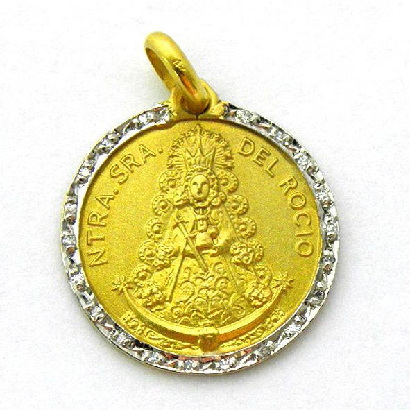 medalla nuestra señora del rocio con orla de brillantes oro amarillo