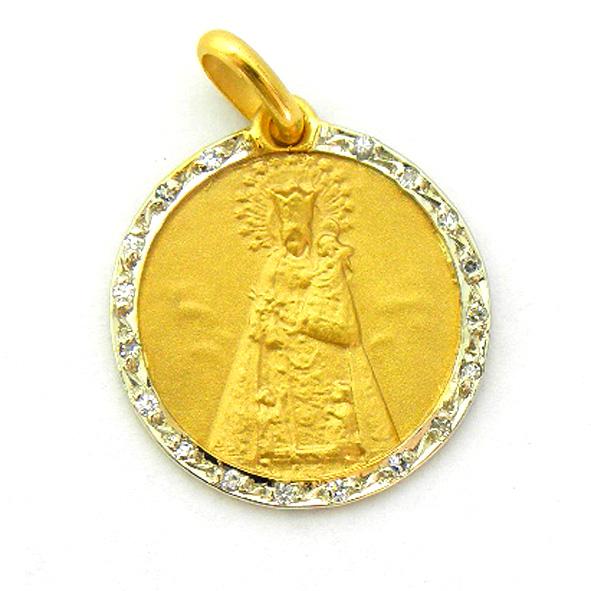 medalla nuestra señora de los desamparados con orla de brillantes oro amarillo