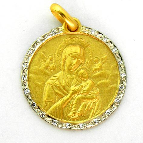 medalla virgen perpetuo socoro con orla de brillantes oro amarillo