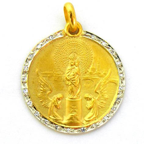 medalla virgen del pilar con orla de brillantes oro amarillo