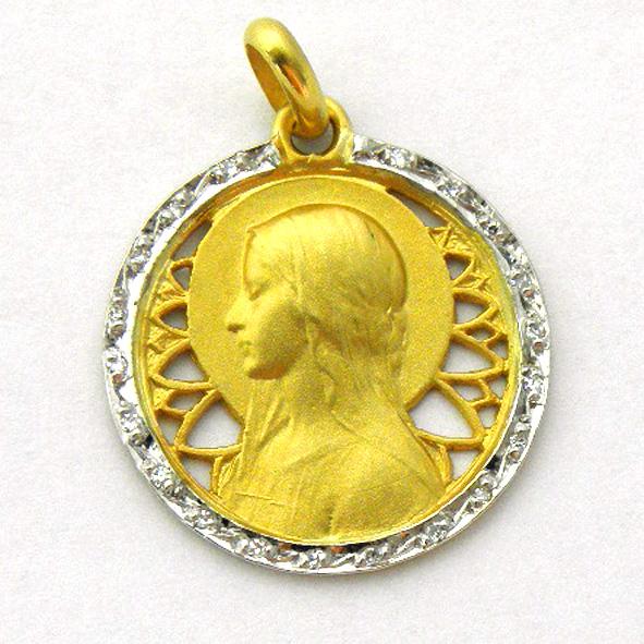 medalla ave velo calada con orla de brillantes oro amarillo
