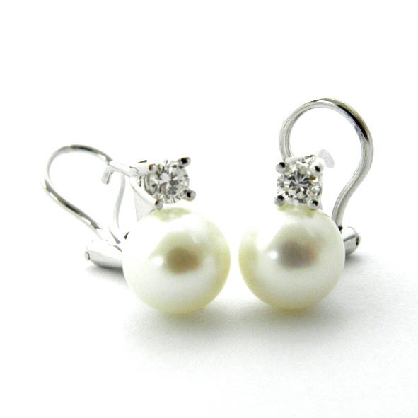 pendientes perla y brillante con cuatro grapas finas oro blanco