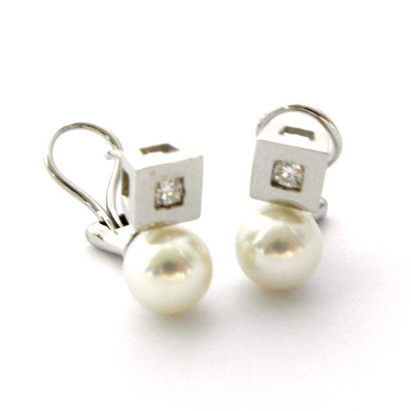 pendientes perla y brillante con bisel forma cuadrada brillo oro blanco