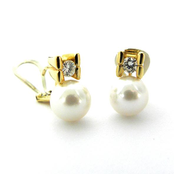 pendientes perla y brillante con dos barras laterales oro amarillo
