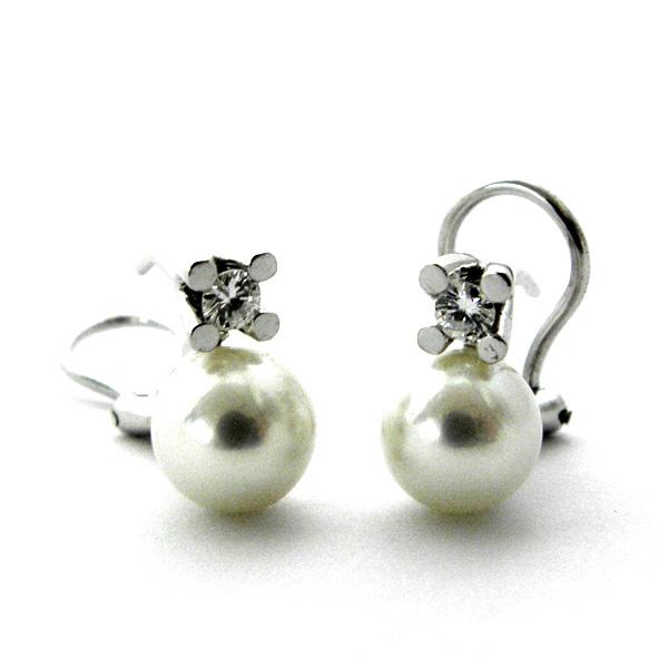 pendientes perla y brillante con cuatro grapas oro blanco