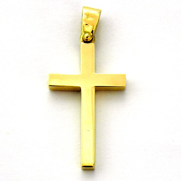 cruz lisa brillo tubo cuadrado oro amarillo