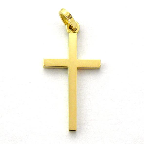 Cruz lisa brillo tubo cuadrado fino oro amarillo