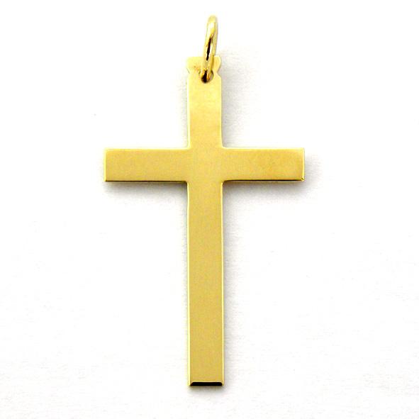 cruz lisa brillo plana oro amarillo