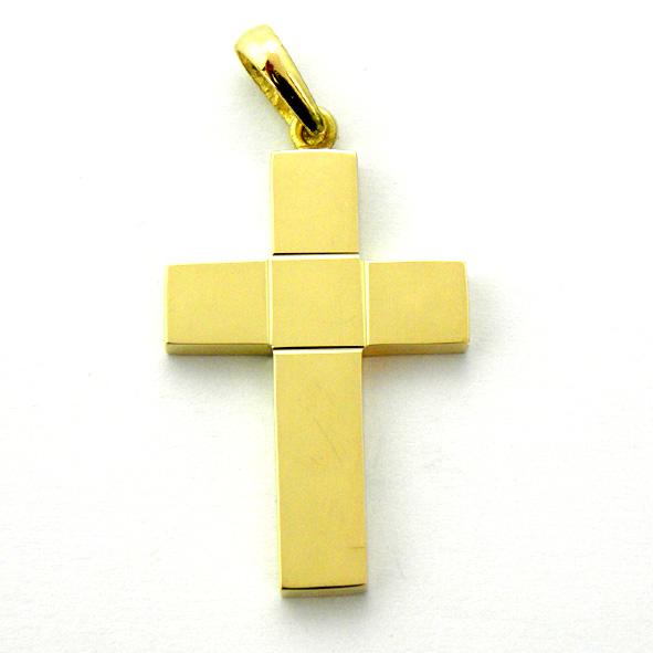 cruz lisa brillo cuadrado en centro ancha oro amarillo