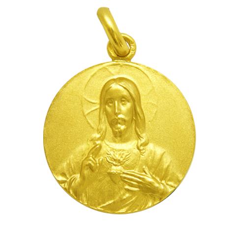 medalla sagrado corazon de jesus oro amarillo