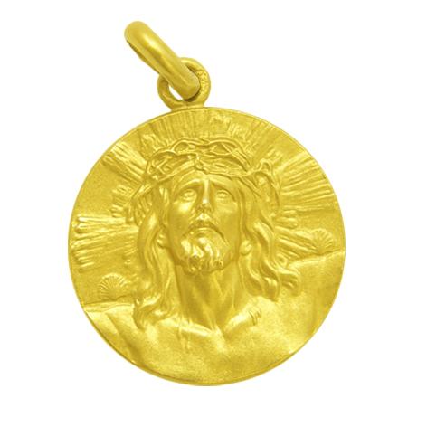 medalla cristo de limpias oro amarillo