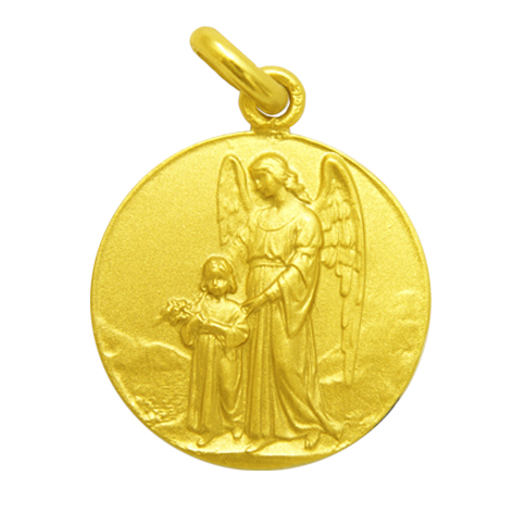 medalla angel de la guarda oro amarillo