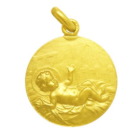 medalla niño entre pajas oro amarillo