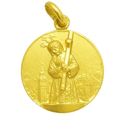 medalla cristo del gran poder oro amarillo