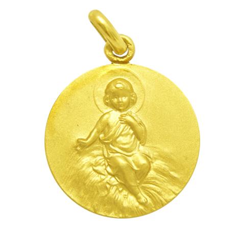medalla niño entre pajas de frente oro amarillo