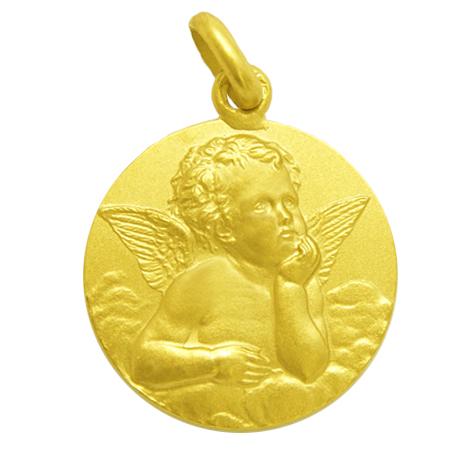 medalla angel serafin oro amarillo