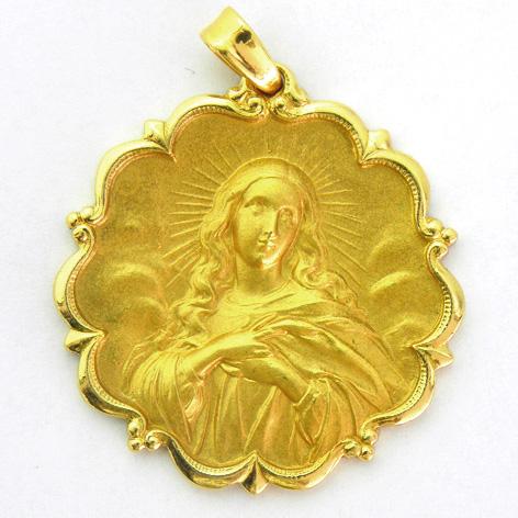 medalla purisima concepcion con bisel ondas con orla oro amarillo