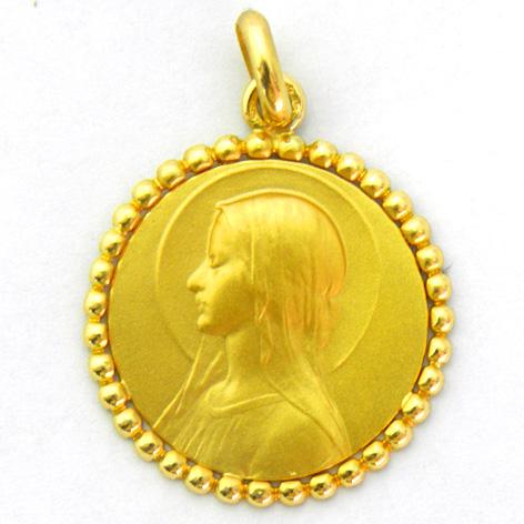 medalla ave velo con orla bolitas oro amarillo