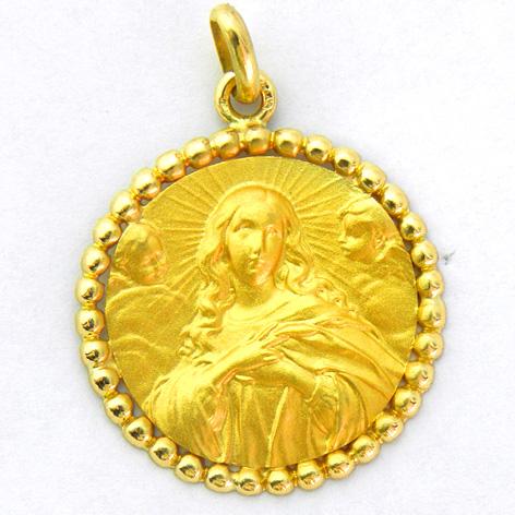 medalla la purisima concepcion con orla bolitas oro amarillo