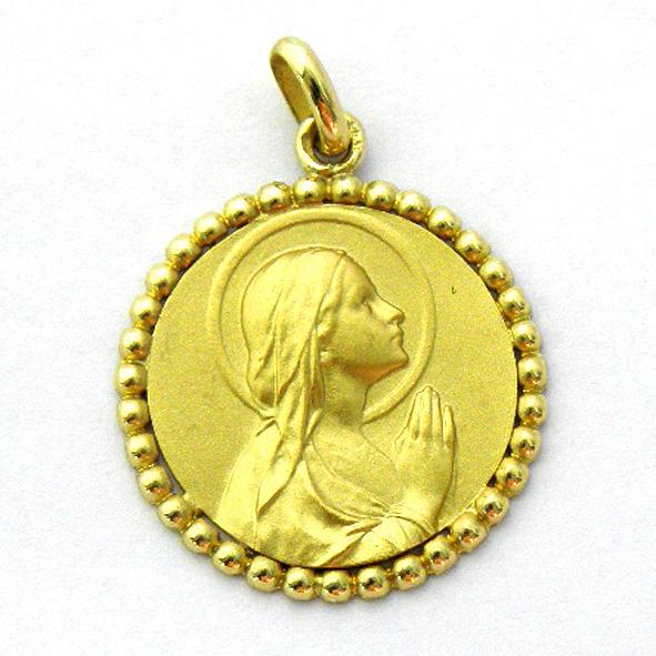 medalla ave manos con orla bolitas oro amarillo