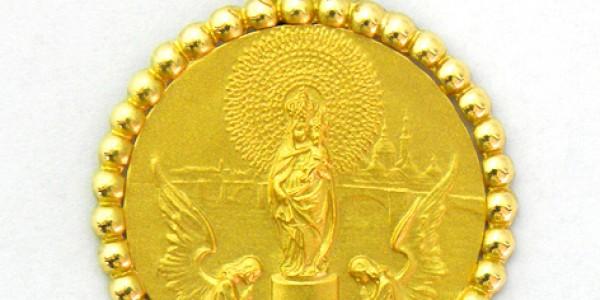 Medalla Virgen del Pilar con orla bolitas