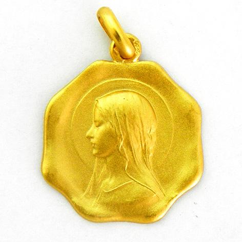 medalla ave velo forma octogonal oro amarillo