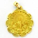 medalla virgen pilar con bisel onditas oro amarillo