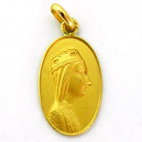 medalla nuestra señora de montserrat oval con bisel oro amarillo