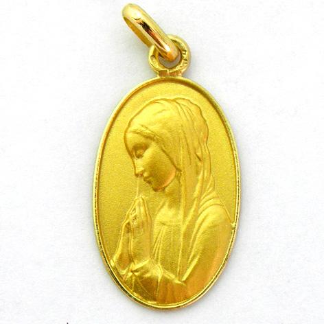 medalla ave niña izquierda oval con bisel oro amarillo