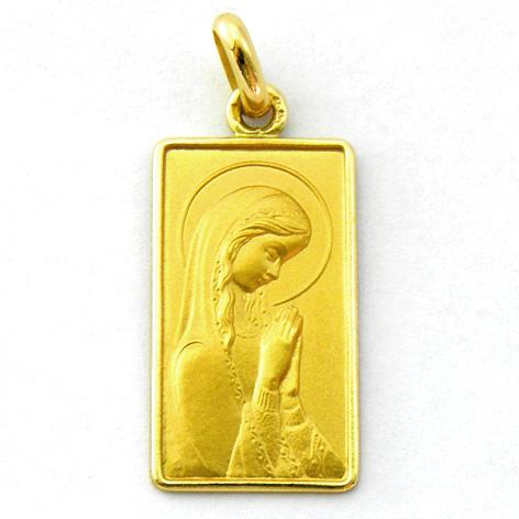 medalla ave niña derecha rectangular con bisel oro amarillo