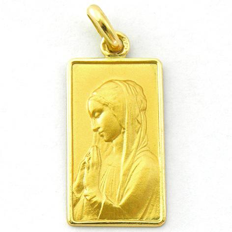 medalla ave niña izquierda rectangualr con bisel oro amarillo