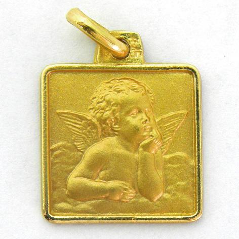 medalla angel serafin cuadrada con bisel oro amarillo