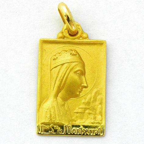 medalla nuestra señora de montserrat rectangular oro amarillo