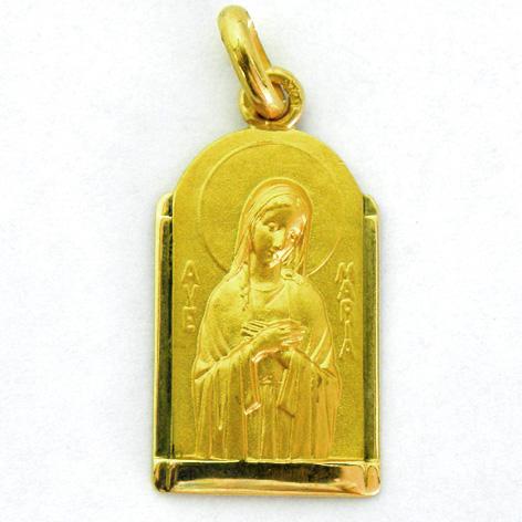 medalla ave postal capilla oro amarillo