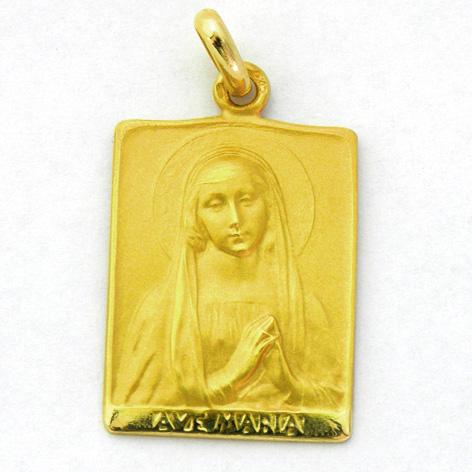 medalla ave rafael rectangular oro amarillo