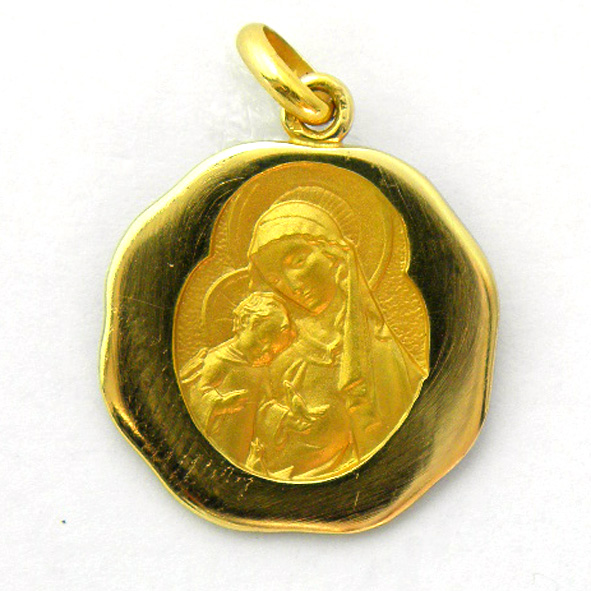 medalla virgen y niño con pajaro bisel octogonal oro amarillo