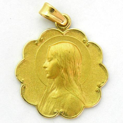 medalla ave velo con bisel ondas oro amarillo