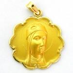 medalla virgen montserrar frente bisel ondas oro amarillo