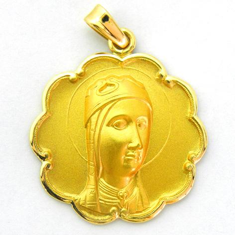 medalla nuestra señora de montserrat de frente con bisel ondas oro amarillo
