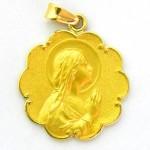 medalla ave manos bisel ondas oro amarillo
