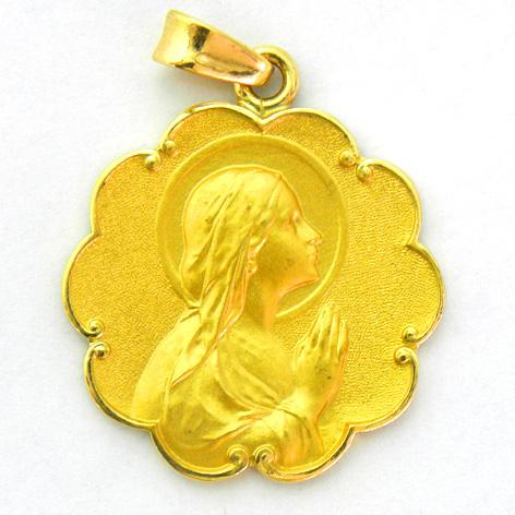 medalla ave manos con bisel ondas oro amarillo