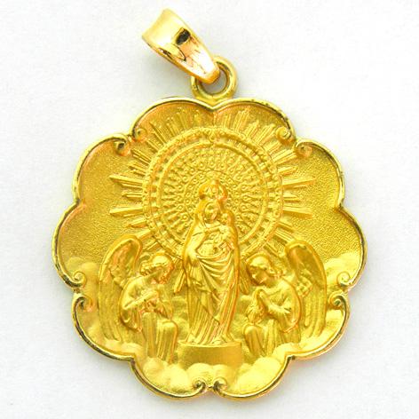 medalla virgen pilar con bisel ondas oro amarillo