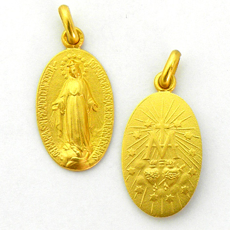 medalla virgen milagrosa oval oro amarillo