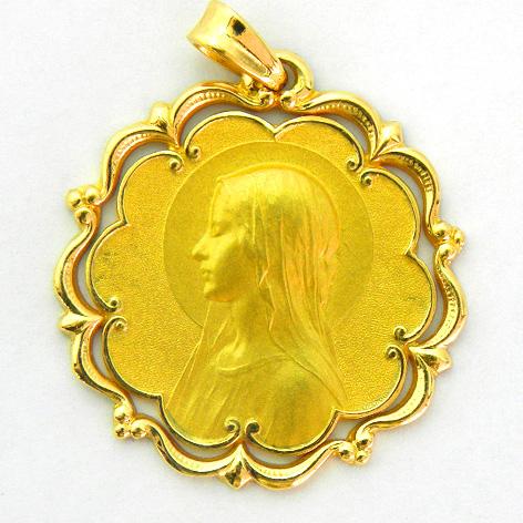medalla ave velo con bisel ondas y orla oro amarillo
