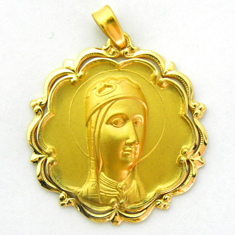 medalla nuestra señora de montserrat con bisel ondas y orla oro amarillo