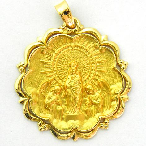 medalla virgen pilar con bisel ondas y orla oro amarillo