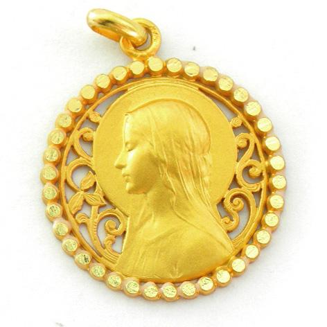 medalla ave velo calada con orla bolitas brillo oro amarillo