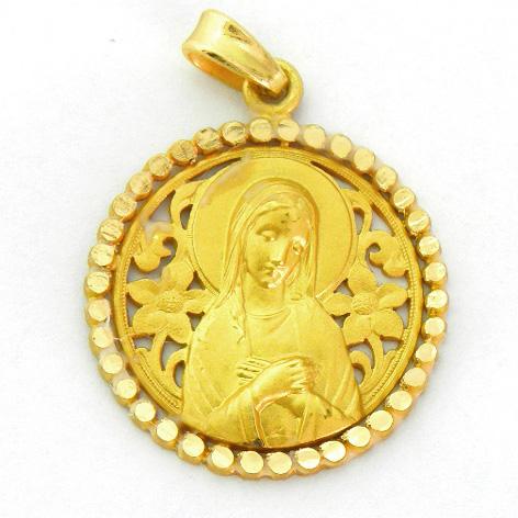 medalla ave postal calada con orla bolitas brillo oro amarillo