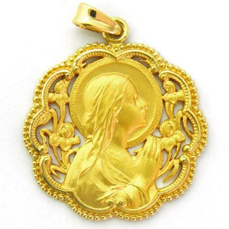 medalla ave manos calada bisel ondas con bolitas oro amarillo