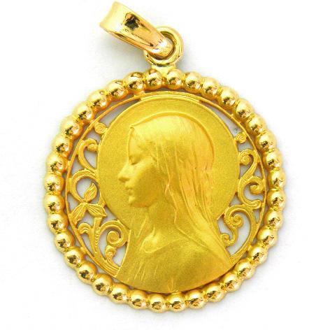 medalla ave velo calada orla bolitas oro amarillo
